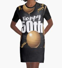 Happy 50th golden balloon and streamers design. To celebrate a 50th gold anniversary, birthday or other special event. Layered type on a dark background. Graphic T-Shirt Dress