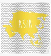 Asia Chevron Continent Series Poster