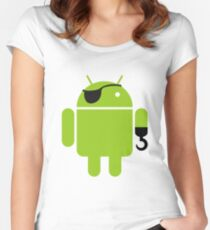 Pirate Android Robot Women's Fitted Scoop T-Shirt