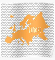 Europe Chevron Continent Series Poster