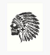 Native Headdress and skull Art Print