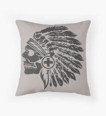 Native Headdress and skull Throw Pillow