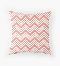 Coral Peach Chevron Stripes Throw Pillow