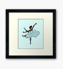 Cute Teal Blue Dance Princess Ballerina Framed Print