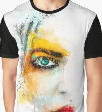 Striking female face mixed media art Graphic T-Shirt