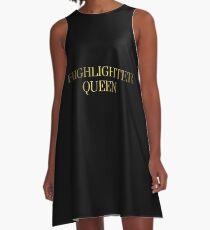HIGHLIGHTER QUEEN | METALLIC GOLD TEXT GRUNGE AESTHETICS PRINT A-Line Dress