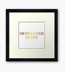 HIGHLIGHTER QUEEN | METALLIC GOLD TEXT GRUNGE AESTHETICS PRINT Framed Print