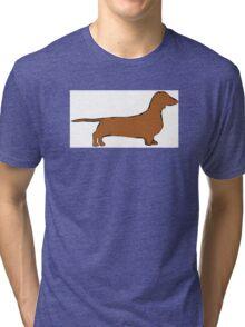 dachshund color silhouette Tri-blend T-Shirt