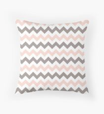 White, Pink & Grey Chevron Throw Pillow