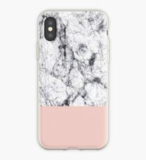 Weißer Marmor auf Roségold iPhone-Hülle & Cover
