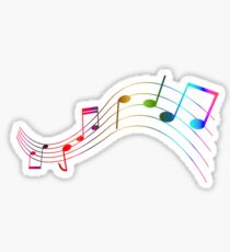 Rainbow Music Note Staff Sticker