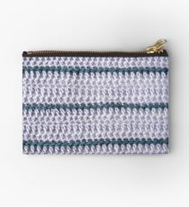 Lilac and teal striped crochet Studio Pouch
