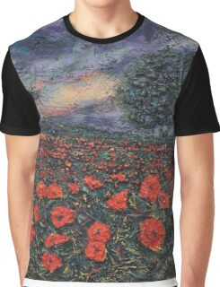 Textured Poppies  Graphic T-Shirt