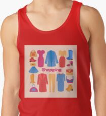 Shopping and Beauty Set in Flat Design Tank Top