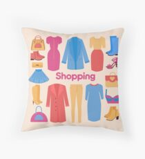Shopping and Beauty Set in Flat Design Throw Pillow