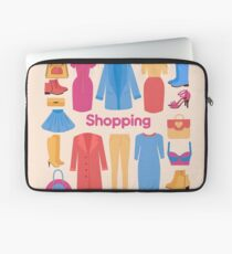 Shopping and Beauty Set in Flat Design Laptop Sleeve