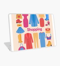 Shopping and Beauty Set in Flat Design Laptop Skin