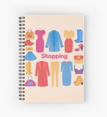 Shopping and Beauty Set in Flat Design Spiral Notebook