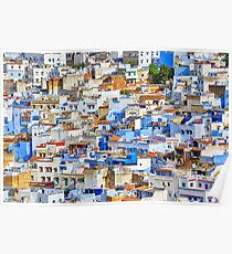 Chefchaouen city, Moroccan architecture. Poster