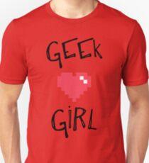 Geek Girl Heart Shirt white  Unisex T-Shirt
