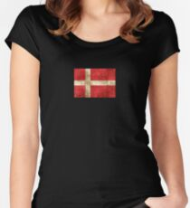 Vintage Aged and Scratched Danish Flag Women's Fitted Scoop T-Shirt