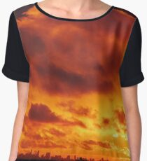 Cloudy Sunset over New York City  Women's Chiffon Top