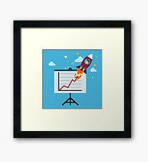 New Business Project Startup Concept Design with Rocket Framed Print