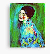Art Nouveau Woman on Green  Canvas Print