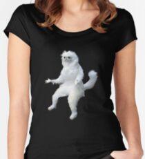 Persian Cat Room Guardian Meme Women's Fitted Scoop T-Shirt