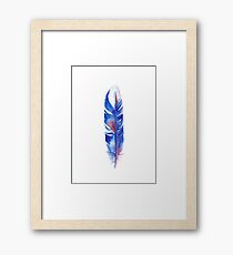 Cobalt Watercolor Feather Framed Print