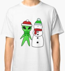 Alien and Snowman Classic T-Shirt