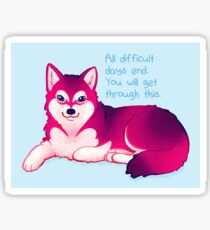 """""""All Difficult Days End"""" Malamute Pup Sticker"""