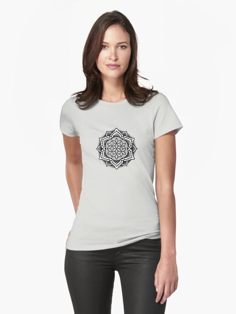 """Life"" Sacred Geometry Mandala Womens T-Shirt Front"