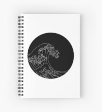 black and white wave Spiral Notebook