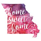 Missouri Watercolor Map - Home Sweet Home Hand Lettering  by Andrea Hill