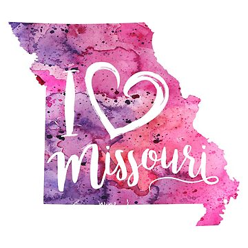 I Heart Missouri Watercolor Map - With Calligraphic Hand Lettering by AndreaHill