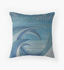 The Churning (embroidered seascape) Throw Pillow