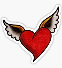 American Traditional Heart with Wings Sticker
