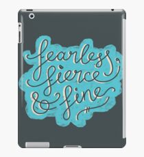 Fearless, Fierce & Fine - Blue & Grey iPad Case/Skin