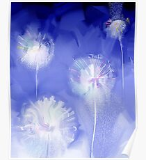pretty stylized dandelion illustration Poster