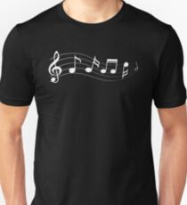 White musical notes silhouette T-Shirt