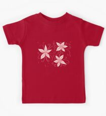 Beautiful Abstract Flowers In Red White And Blue Kids Tee