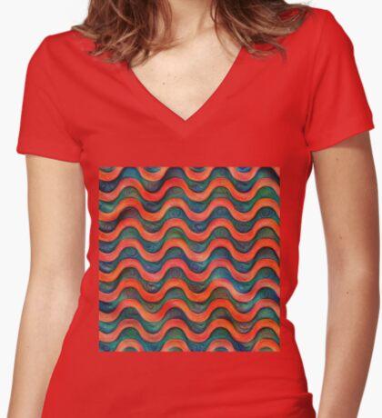 Frozen underwater liquid red waves #DeepDream #Art Fitted V-Neck T-Shirt