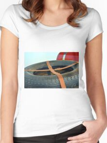 Spare car wheel with leather belt  Women's Fitted Scoop T-Shirt