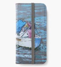 Two boat wrecks at low tide iPhone Wallet