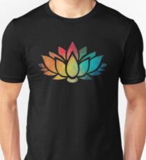 Rainbow color patterns lotus flower  Unisex T-Shirt