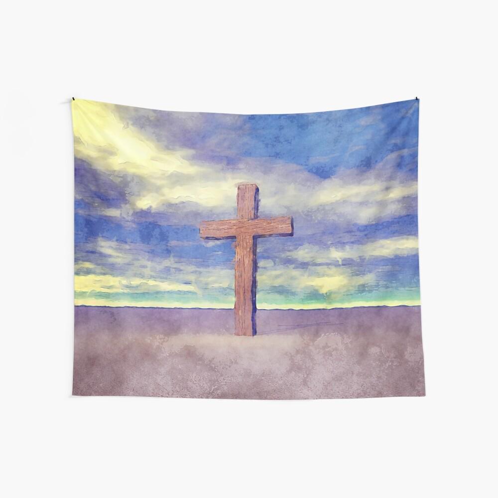 Christian Cross Landscape Wall Tapestry