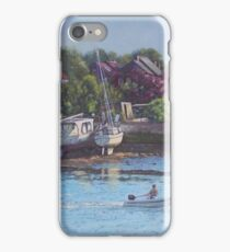 Boats on Riverside Park Bank iPhone Case/Skin