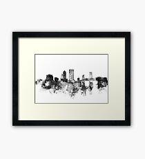 Jacksonville BW watercolor skyline Framed Print