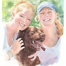 Sisters and their dog watercolor by Mike Theuer